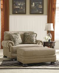 Oversized Chair With Ottoman Keereel Sand Fabric Upholstered Oversized Chair And Ottoman Set