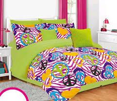 Pink Zebra Comforter Girls Twin Bedding Set Lime Green Pink Zebra Peace Signs Hearts