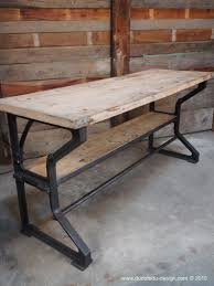 bureau industriel metal bois etabli bureau industriel pieds fonte