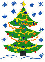 christmas tree children paper cutout stock photo picture and