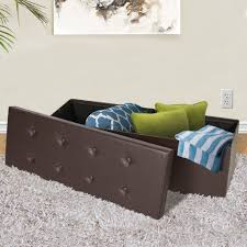 Ottoman Folding Bed Faux Leather Folding Storage Ottoman Brown U2013 Best Choice Products