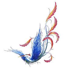 colored phoenix feminine tattoo design