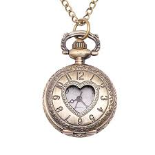 pocket watch chain necklace images 81stgeneration women 39 s brass vintage style love heart jpg