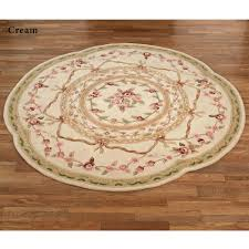 Cream Round Rug by Leila Ii Sculpted Aubusson Floral Round Rugs
