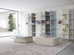 awesome apartment home library design with white leather ideas