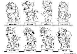 free chase paw patrol list coloring pages printable