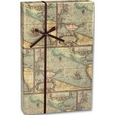 world map gift wrapping paper roll vintage bags bows