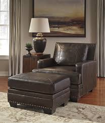 Brown Leather Accent Chair Set Of 2 Leather Match Ottoman With Nailhead Trim By Signature Design By