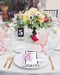 Pink And Gold Table Setting by A Retro Glam Wedding In California Martha Stewart Weddings