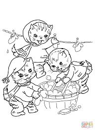 the three little kittens they washed their mittens coloring page