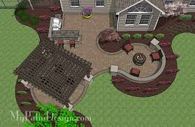 Backyard Brick Patio Design With Grill Station Seating Wall And by Large Paver Patio Design With Pergola Plan No 1156rr