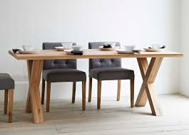 oak wood table legs long rectangle brown wooden table with crossed legs combined with