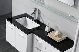 white sink black countertop bathroom modern vanity with white cabinet and drawer and also black