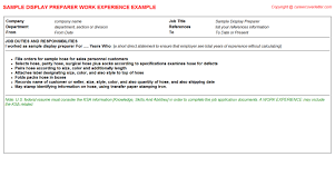 sample display preparer cv work experience