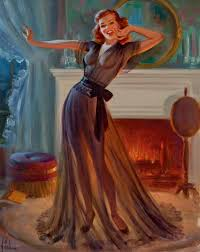 in front of fireplace art frahm classicamericanpinup