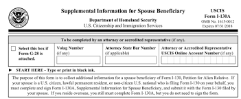 Seeking Explained U S Immigration Form I 130a For Spouses Seeking A Green Card