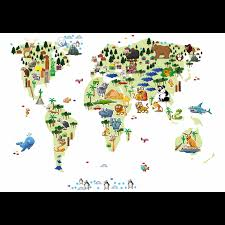 World Map Canvas by Animal World Map Canvas