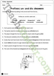 un and dis prefixes worksheet teaching resource u2013 teach starter