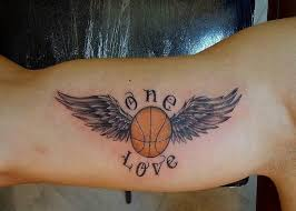 men bicep cool basketball in wings and word tattoo tattooshunter com