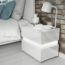 white gloss side table sense white high gloss bedside table with led light furniture123