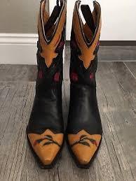 womens vintage cowboy boots size 9 ariat black matte and patent leather cowboy boots pink trim