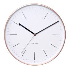 karlsson minimal white wall clock with copper case peter u0027s of
