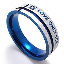 blue promise rings images Konov men 39 s stainless steel love only you promise ring wedding jpg