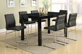 Modern High Gloss Black Counter Height Dining Table Set - Counter height kitchen table and chair sets
