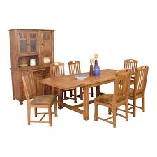sunny designs rustic oak dining room table 6 chairs two piece