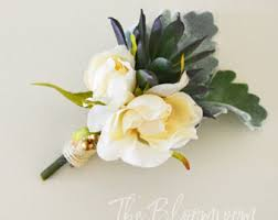 Boutineer Flowers Silk Boutonniere Etsy