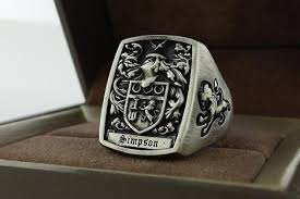 signet ring men made mens ring signet ring custom crest ring by 3dheraldry