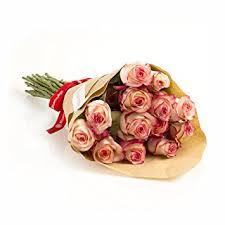 Roses Bouquet Amazon Com 25 Long Stem Bi Color Pink And White Rose Bouquet