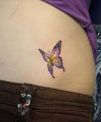 purple butterfly on side belly tattoomagz