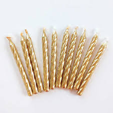 gold birthday candles 2 1 2 gold twist birthday candles 10 metallic gold