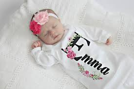 monogram baby items newborn girl take home personalized baby girl clothes