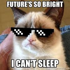 Grumpy Cat Sleep Meme - future s so bright i can t sleep grumpy cat with sunglasses meme