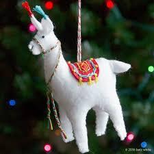 stitch along ornament club 2 fa la la la llama betz white