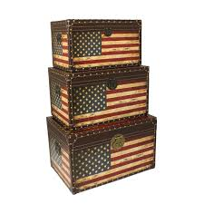 American Flag Decor Antique American Flag Decorative Trunk Cases And Storage Accent