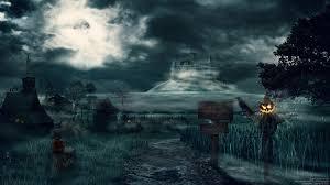 dark village wallpaper castles trees dark halloween moon hills scarecrow fantasy art