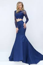 delicate two piece satin and lace crop top long sleeve mermaid
