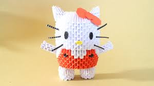 cara membuat origami hello kitty 3d how to 3d origami hello kitty youtube