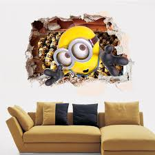 3d sewer minions wall stickers cartoon diy removable wall decals