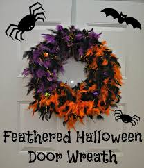 feathered halloween door wreath diy decoration diy decoration