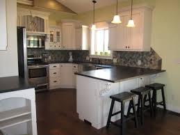 White Kitchen Cabinets With Black Granite Countertops Thompson Kitchen White Cabinets With Absolute Black Leather