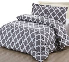 amazon com printed comforter set grey twin with 1 pillow sham
