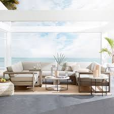 Build Outdoor Sectional Sofa Build Your Own Portside Sectional Weathered Gray West Elm