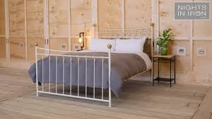 coppelia metal bed finished ivory with brass balls youtube