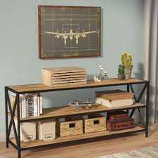 Metal And Wood Sofa Table by Trent Austin Design Augustus X Frame Metal And Wood Media 26