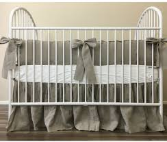 dark linen baby bedding set with sash ties rustic nursery charm