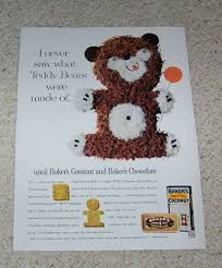 1961 ad page baker u0027s angel flake coconut chocolate teddy bear cake